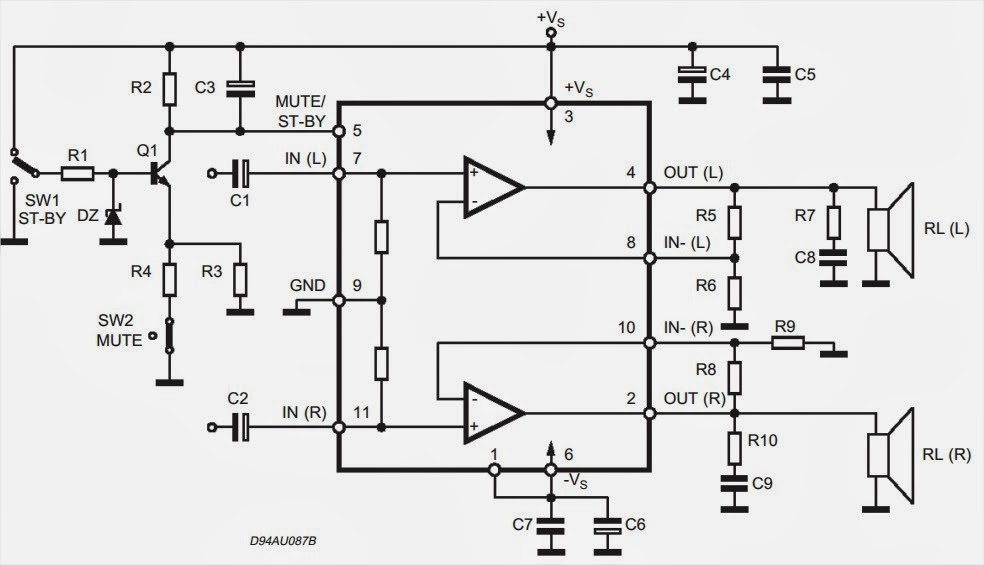 tda7265 subwoofer circuit diagram  u2013 amplifiercircuits com
