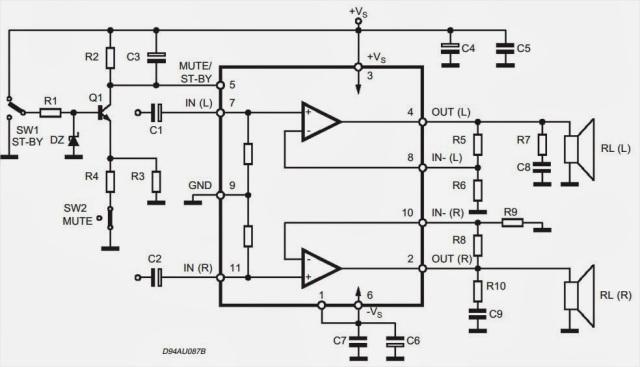 TDA7265 subwoofer circuit diagram